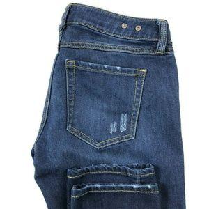 Cabi Slim Boyfriend Dark Wash Distressed Jeans